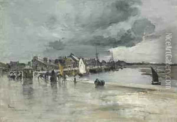 Harbour At St. Vaast, The Hague Oil Painting - Frank Myers Boggs