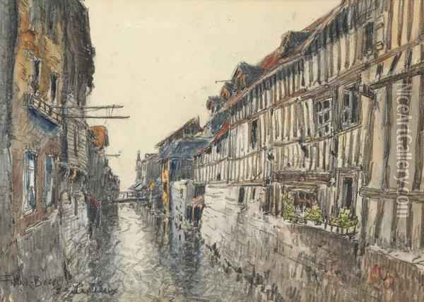 Canal A Lisieux Oil Painting - Frank Myers Boggs