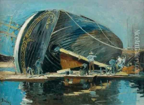 Scene De Chantier Naval, Trois-mats Au Carenage Oil Painting - Frank Myers Boggs