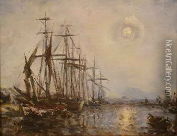 Moonlight Harbour With Moored Oil Painting - Frank Myers Boggs
