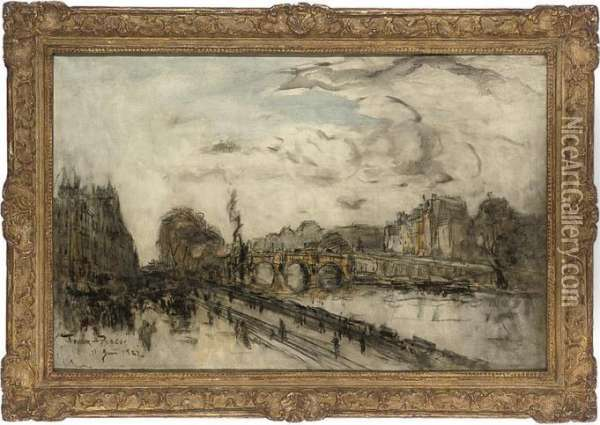 Le Pont Neuf Oil Painting - Frank Myers Boggs