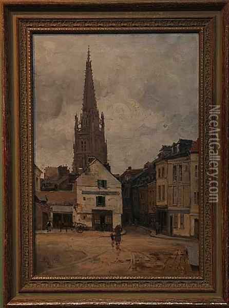French Village Street Scene Oil Painting - Frank Myers Boggs