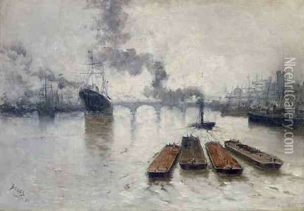 Seine River Wharfs Oil Painting - Frank Myers Boggs