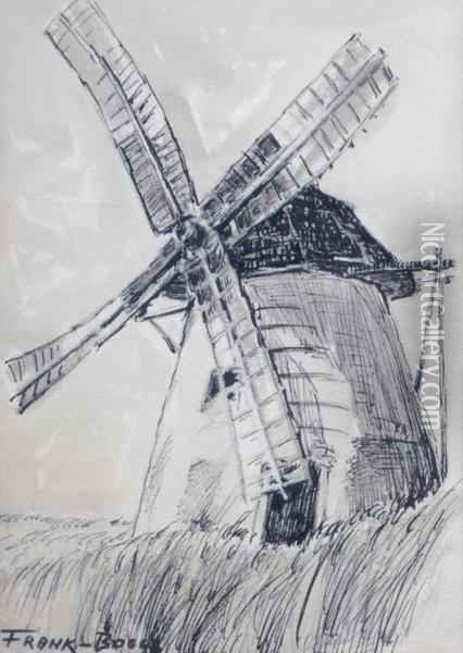 Dordrecht: Le Moulin A Vent (with Sketch Of A Tree On Verso Ofsheet) Oil Painting - Frank Myers Boggs