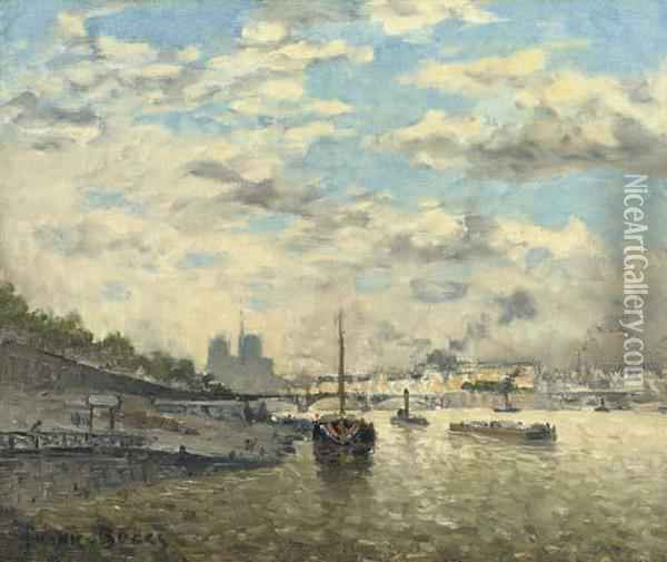 Along The Seine Oil Painting - Frank Myers Boggs