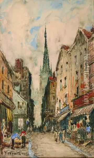 Street Scene In Rouen Oil Painting - Frank Myers Boggs