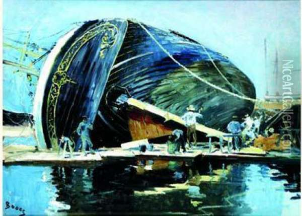 Le Calfatage Du Navire Oil Painting - Frank Myers Boggs