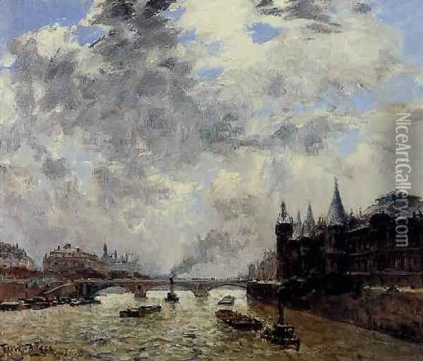 La Seine A Paris Oil Painting - Frank Myers Boggs