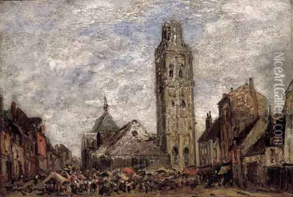 A French Town Square Oil Painting - Frank Myers Boggs