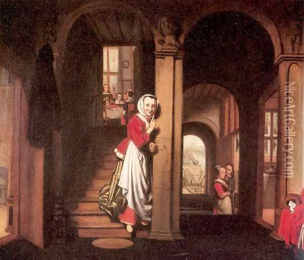 The Eavesdropper 1657 Oil Painting - Nicolaes Maes