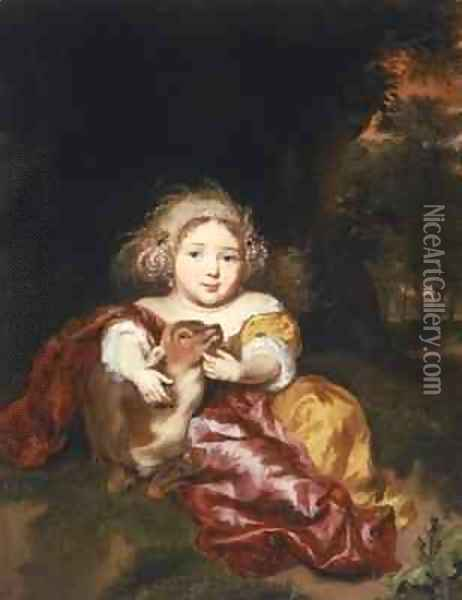 Girl Caressing a Fawn Oil Painting - Nicolaes Maes