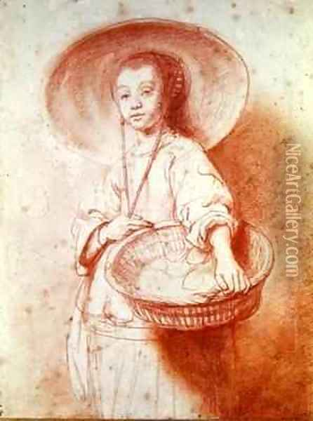 Young Girl with a Basket Oil Painting - Nicolaes Maes