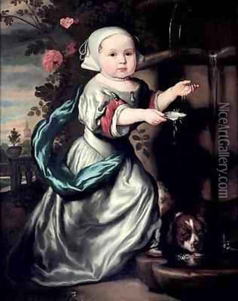 Young girl at a fountain 1662 Oil Painting - Nicolaes Maes