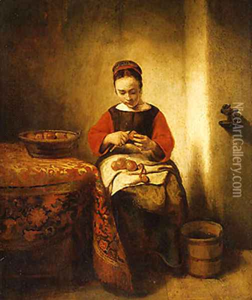 Young Girl Peeling Apples ca 1655 Oil Painting - Nicolaes Maes