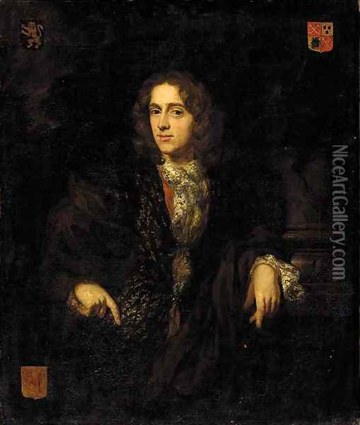 Portrait of Johannes Bouwens (1663-1720), half-length, in a brown jacket and an embroidered waistcoat, his left arm resting on the base of a column Oil Painting - Nicolaes Maes