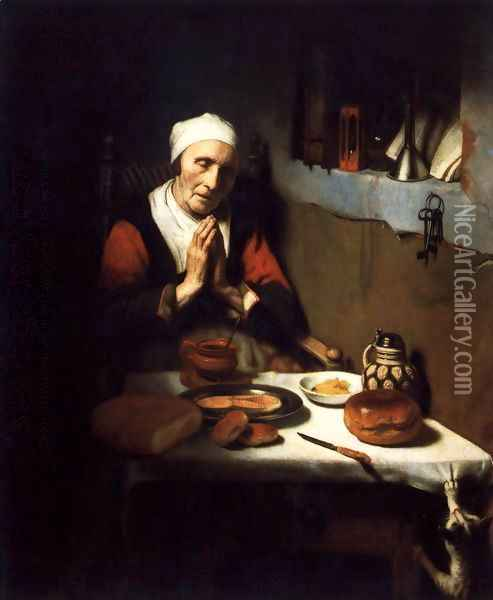 Old Woman Saying Grace 1656 Oil Painting - Nicolaes Maes