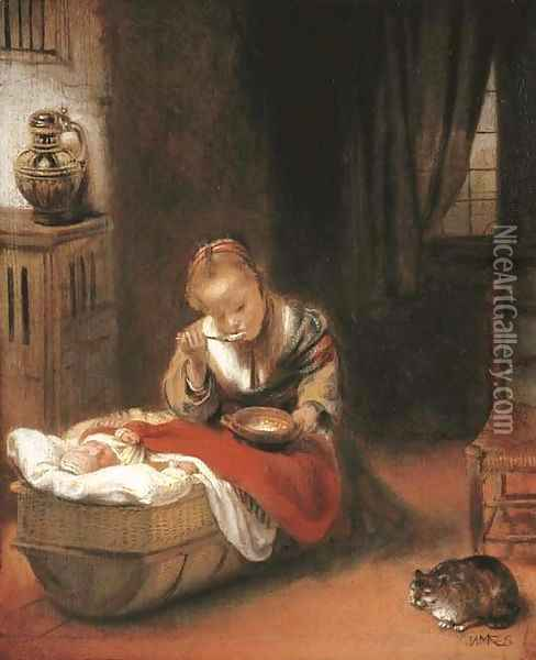 An interior with a young girl eating curds from a bowl, and an infant in a wicker cradle, a cat before a chair beside them Oil Painting - Nicolaes Maes