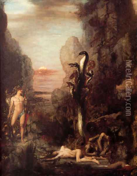 Hercules and the Lernaean Hydra 1869-76 Oil Painting - Gustave Moreau