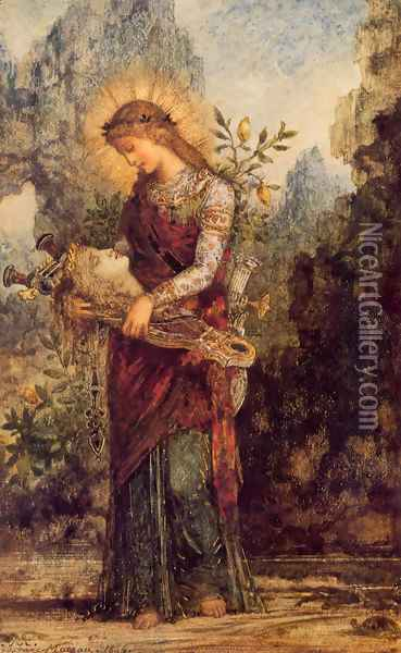 Orpheus (or Thracian Girl Carrying the Head of Orpheus) Oil Painting - Gustave Moreau