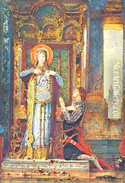 St Elizabeth of Hungary or The Miracle of the Roses Oil Painting - Gustave Moreau