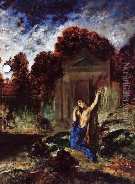 Orpheus at the Tomb of Eurydice Oil Painting - Gustave Moreau