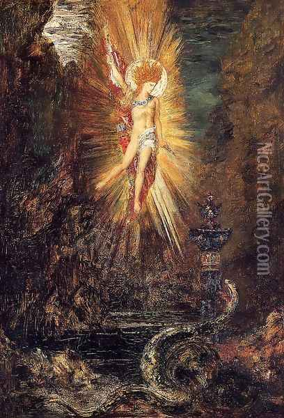 Apollo Vanquishing the Serpent Python Oil Painting - Gustave Moreau