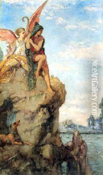 Hesiod and the Muse Oil Painting - Gustave Moreau