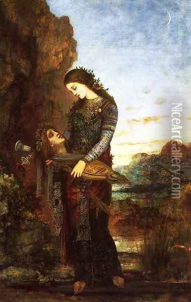 Young Thracian Woman Carrying the Head of Orpheus Oil Painting - Gustave Moreau