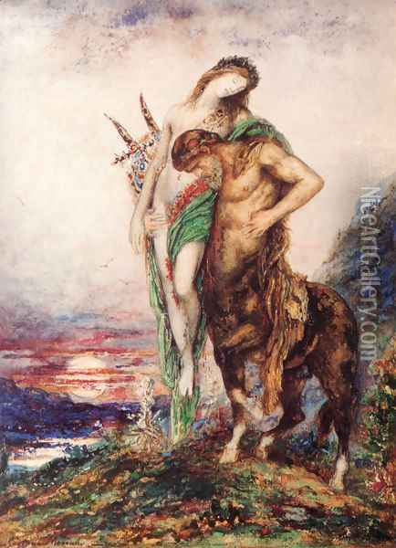 The Dead Poet Borne By A Centaur Oil Painting - Gustave Moreau