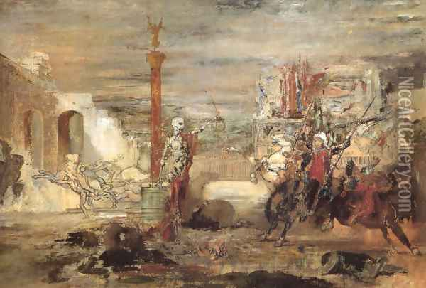 Death Offers Crowns to the Winner of the Tournament Oil Painting - Gustave Moreau