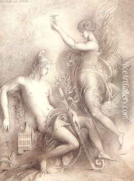 Hesiod and the Muse 1857 Oil Painting - Gustave Moreau