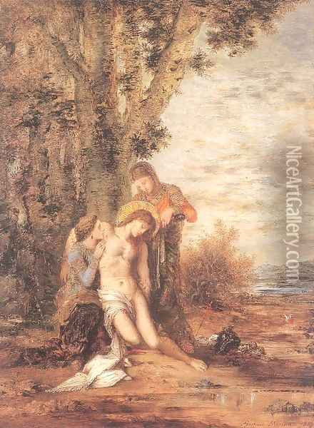 Saint Sebastian and the Holy Women 1868-69 Oil Painting - Gustave Moreau