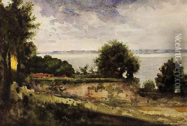 View of the Garden of Madame Aupick, Mother of Baudelaire Oil Painting - Gustave Moreau
