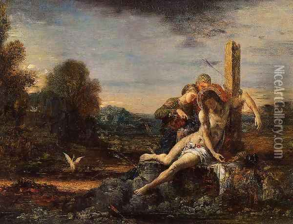 Saint Sebastian being Tended by Saintly Women Oil Painting - Gustave Moreau