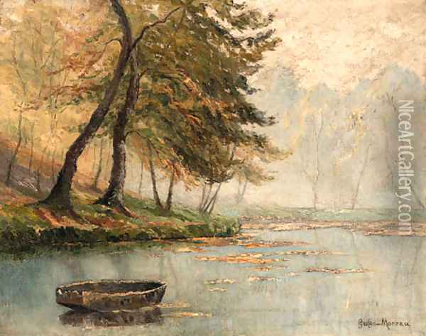 A rowboat by a mountainous lake Oil Painting - Gustave Moreau