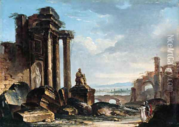 A capriccio of classical ruins with figures conversing in the foreground Oil Painting - Gustave Moreau