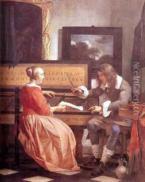 Man and Woman Sitting at the Virginal 1658-60 Oil Painting - Gabriel Metsu