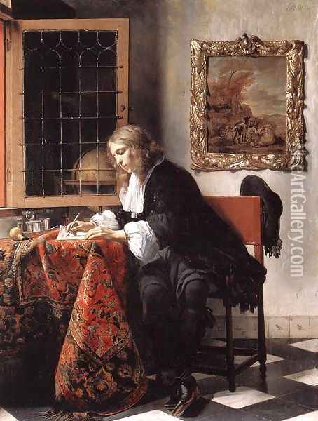 Man Writing a Letter 1662-65 Oil Painting - Gabriel Metsu