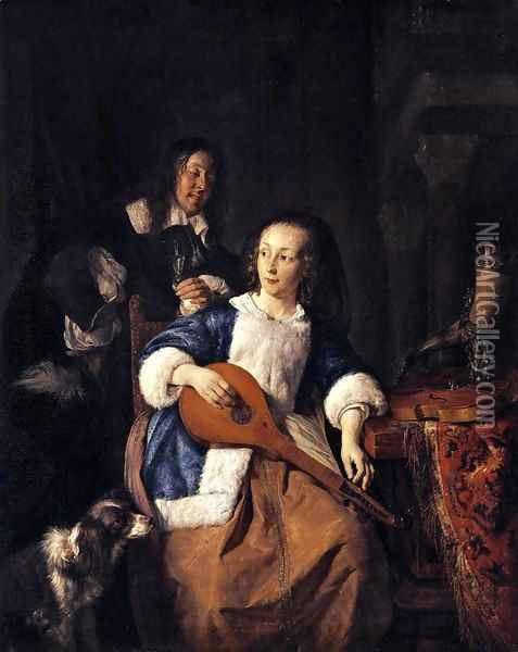 The Cittern Player 1660 Oil Painting - Gabriel Metsu