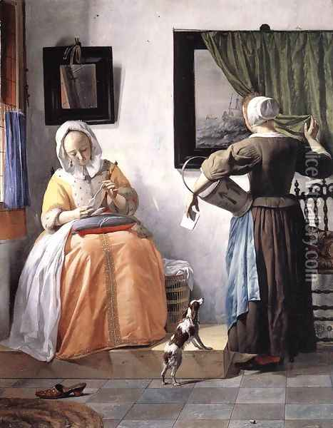Woman Reading a Letter 1662-65 Oil Painting - Gabriel Metsu