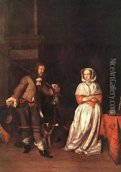 The Hunter and a Woman Oil Painting - Gabriel Metsu