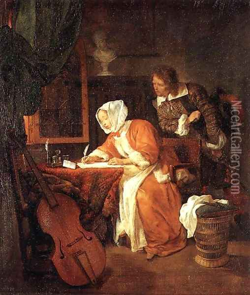The Letter-Writer Surprised c. 1662 Oil Painting - Gabriel Metsu