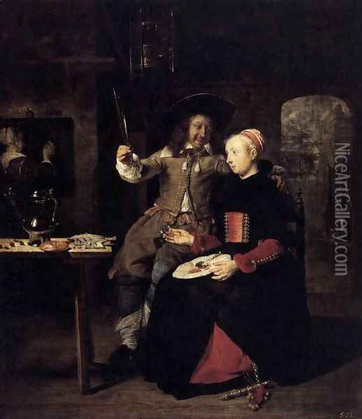Portrait of the Artist with His Wife Isabella de Wolff in a Tavern 1661 Oil Painting - Gabriel Metsu