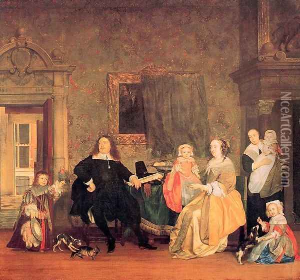 Burgomaster Gillis Valckenier and his Family 1675 Oil Painting - Gabriel Metsu