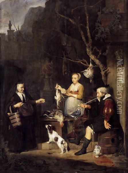 The Poultry Seller 1662 Oil Painting - Gabriel Metsu
