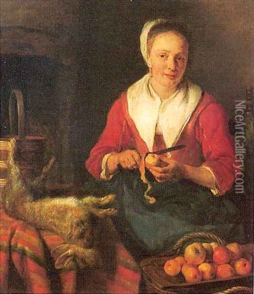 The Busy Cook Oil Painting - Gabriel Metsu