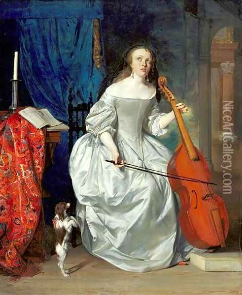 Woman Playing the Viola da Gamba Oil Painting - Gabriel Metsu