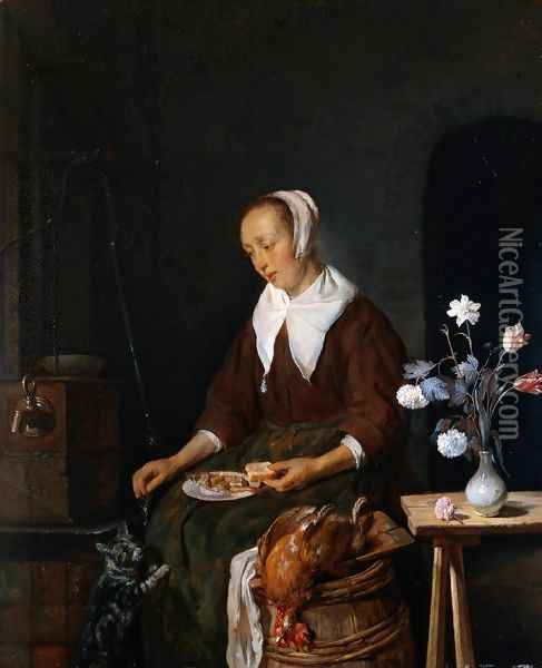 Woman Eating and Feeding her Cat Oil Painting - Gabriel Metsu