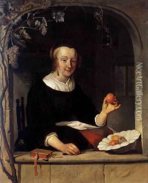 Lady Seated in a Window Oil Painting - Gabriel Metsu