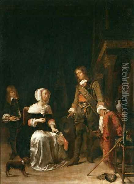 Soldier Paying a Visit to a Young Lady Oil Painting - Gabriel Metsu